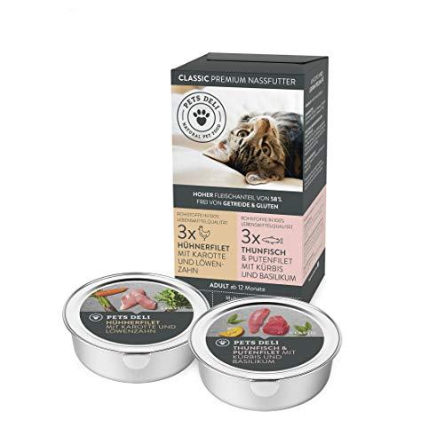 Nassfutter für Katzen 6 x 85 g | Premium-Qualität | 6er-Multi-Pack Huhn und Fisch | gesundes...