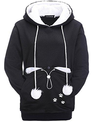 Leslady Damen Kapuzenpullover Sweatshirt Kangaroo Carrier für kleine Katze Hunde Große Tasche Hoodie,...