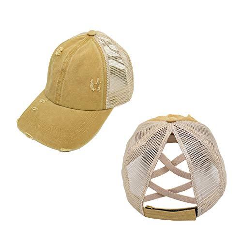 BHAIR5 Sun Hat Baseball Cap Unisex Loch, verstellbare Mesh Outdoor Sport Criss Cross Pferdeschwanz...