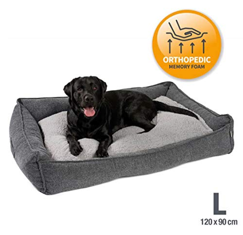 JAMAXX Premium Hundebett Orthopädisch Memory Visco Schaum Waschbar Abnehmbarer Bezug Wasserabweisend -...