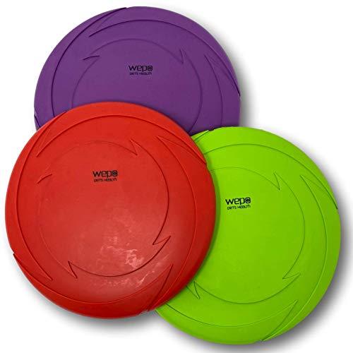 WEPO Hundespielzeug Set - 3 Stück - Hundefrisbee Schwimmend Ø 18cm - Dog-Frisbee - Wurfspielzeug Hunde...
