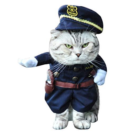 BBring Halloween Katzenkostüm für Katzen Hunde, Cosplay Pirat Polizei Cowboy Kostüm mit Hut Gürtel...