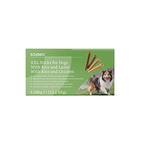Amazon-Marke: Solimo - Hundeleckerlis: Huhn & Lamm Kaustangen ohne künstliche Aromastoffe (32 Stück x...
