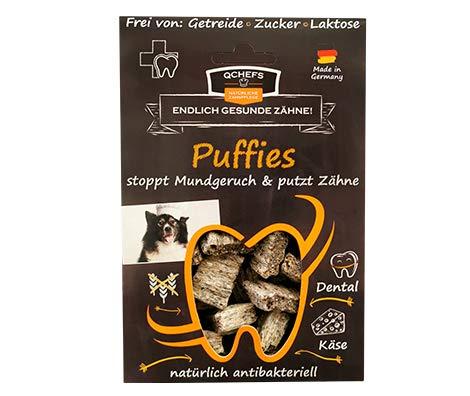 QCHEFS Puffies | Hunde Zahnpflege-Snack| Zahnsteinentferner| Hundeleckerli- kleine & große & Allergiker|...