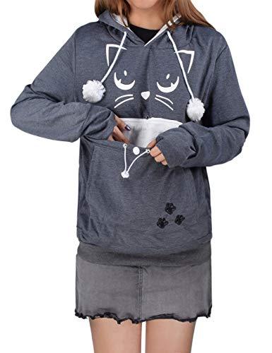 besbomig Unisex Kapuzenpullover mit Katzen Hund Großen Tasche - Mode Sweatshirt Kapuze Taschenbeutel...