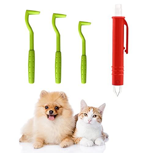 DOHAPPYS 4 StückZeckenentferner Set Für Hunde Katze, 3 Zeckenhaken, 1 Zeckenhaken, Zeckenentfernung In...