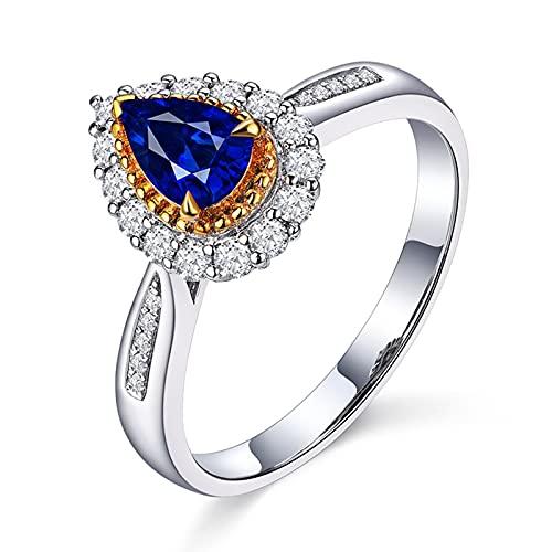 Beydodo Ringe Weißgold Hochzeit 750, Verlobung Ring Frauen 0.61ct Tropfen Saphir Solitär Ringe für...
