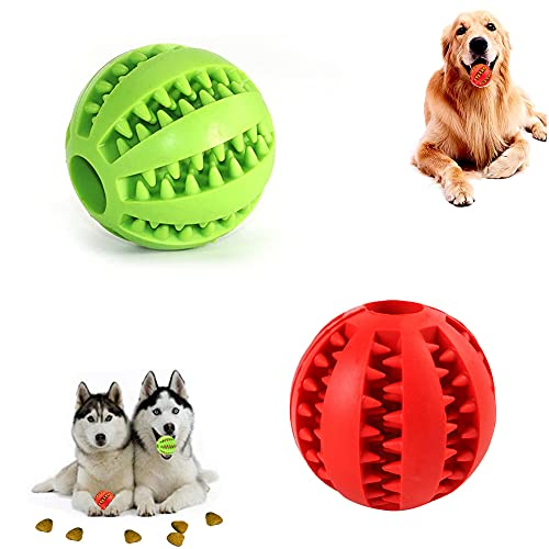 Hundespielzeug Ball,2er Pack Kauspielzeug aus Naturkautschuk,Hundeball mit Zahnpflege-Funktion,Naturgummi...