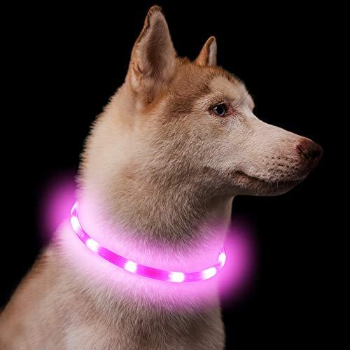 Leuchthalsband für Hunde, wiederaufladbar, zuschneidbar auf jede Größe, superhelle LED,...