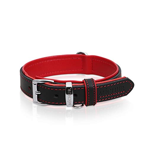 MICHUR Minimo Rot Hundehalsband Leder, Lederhalsband Hund, Halsband, Rot-Schwarz, Leder, in verschiedenen...