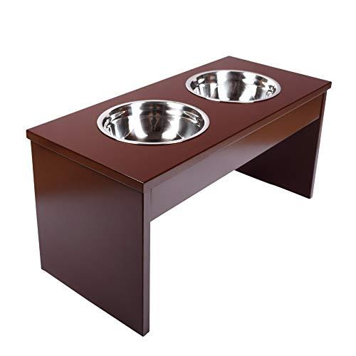 Schramm® Futterstation aus Holz und 2 Edelstahlnäpfen 750ml in 2 Größen Futterbar Fressnapf...