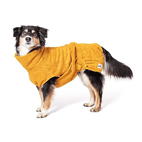 Lill's Hundebademantel, 100% Bio-Baumwolle, Organic Amber (Gelb) (S)