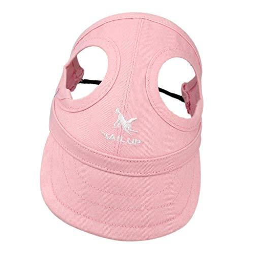 B Blesiya Hunde Baseballmütze Hundecap Sonnenschutz Kappe mit Ohrlöchern - Rosa, XL