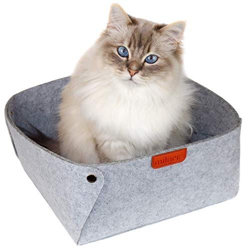 milnero FELIDA Katzenbett Grau aus Filz inkl. Einlegematte | Hochwertiger Schlafplatz für Katzen 30 x 30...