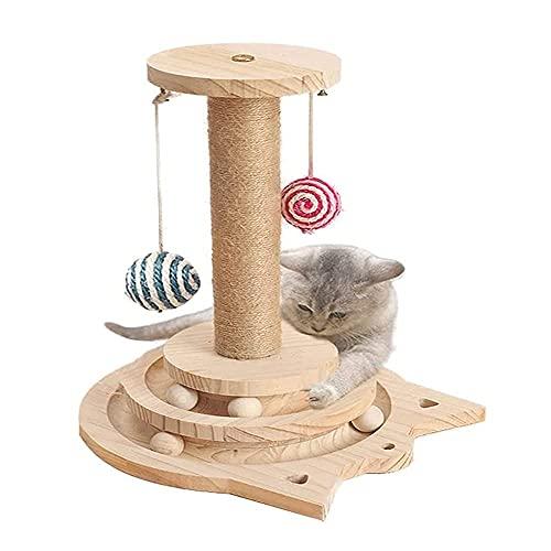 Yang Xin.Style Zwei Fußboden Holzkugel-Katzenspielzeug, Drehscheibe Katze Kratzbaum, interaktives...