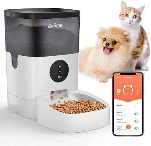 Balimo 4L 2.4G WiFi Automatischer Futterspender für Katze und Hunde,Futterautomat Katze & Hund mit Ton...