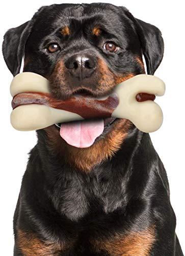 Mumba Hundespielzeug Knochen Unzerstörbar Kauspielzeug Hund für Aggressive Kauer Rindfleischgeschmack...