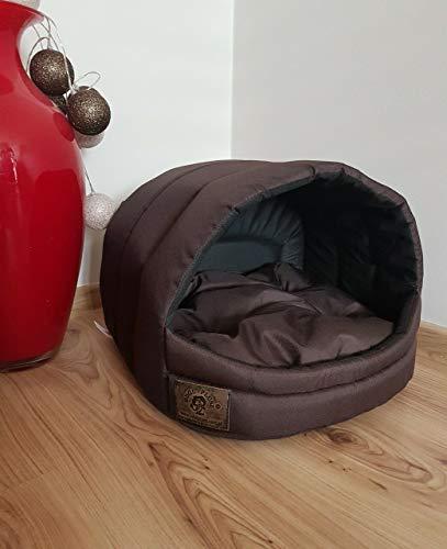 Odolplusz Hundehütte Hundehöhle Hundebett Hundehaus S M ([ M ] 36 x 49 x45 cm, Braun)
