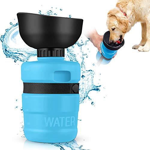 MIFIRE Hundetrinkflasche Unterwegs mit ON/Off auslaufsicherer Trinkschale Faltbarer Hunde/Katze...