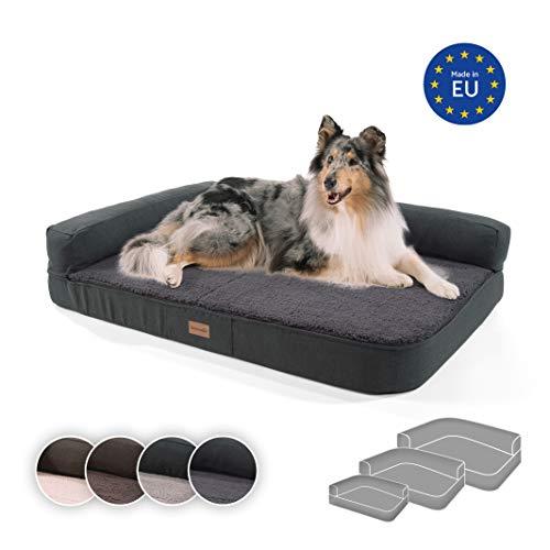 brunolie Odin großes Hundesofa in Dunkelgrau, waschbar, orthopädisch und rutschfest, Hundekissen mit...