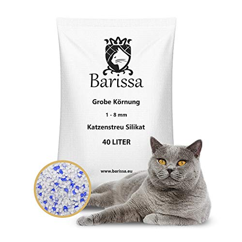 BARISSA Silikat Katzenstreu Grob 40 Liter = 15KG Katzenstreu Hygienestreu Silica Kristall Staubfrei...