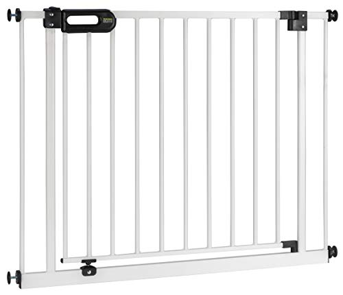 BOMI Treppen Gitter 83-243 | Zum Klemmen | 90° Stop | Schließt automatisch | Absperrgitter weiß für...