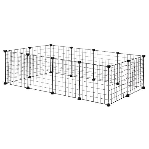 EUGAD Freigehege für Kaninchen Hasen Meerschweinchen Welpenauslauf Laufgitter DIY 12 Platten Schwarz 145...