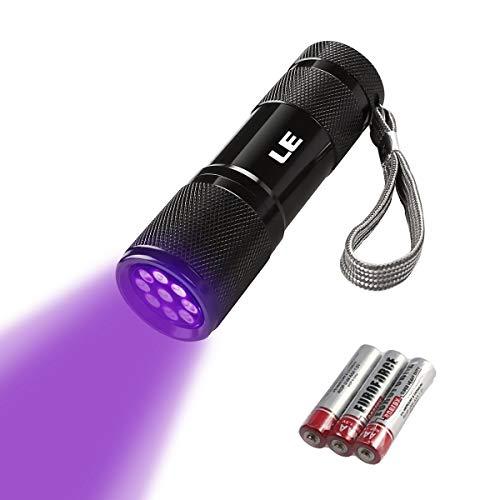 LE LED Mini UV Schwarzlicht Taschenlampe mit 9 LEDs, Ultraviolettes Licht mit 395nm für Geocaching,...
