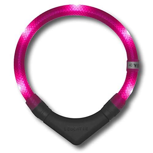 LEUCHTIE® Leuchthalsband Plus hotpink Größe 35 I LED Halsband für Hunde I 100 h Leuchtdauer I...
