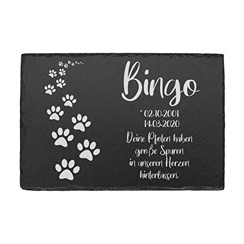 kultdog 9 Motive, Tiergrabstein mit Gravur - Grabstein aus Schiefer - Gedenkstein für Hund & Katze -...