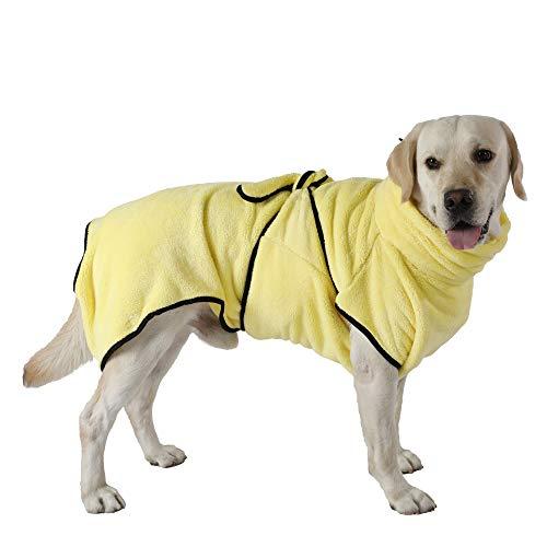 PETTOM Bademantel Hund Schnelltrocknend Korallenvlies Hundebademantel für Mittelgroße Hunde Saugfähig...