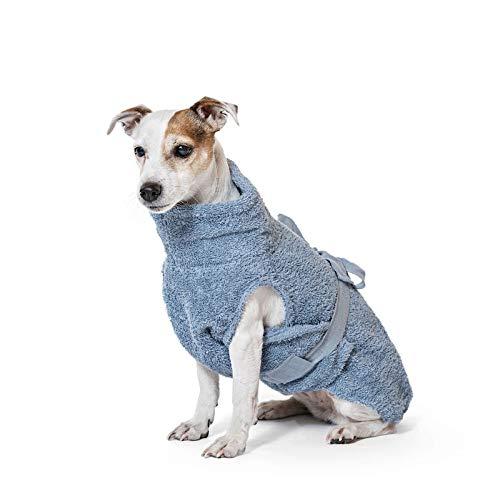 Lill's Hundebademantel, 100% Bio-Baumwolle, Organic Ocean Blue (Blau) (4XS)