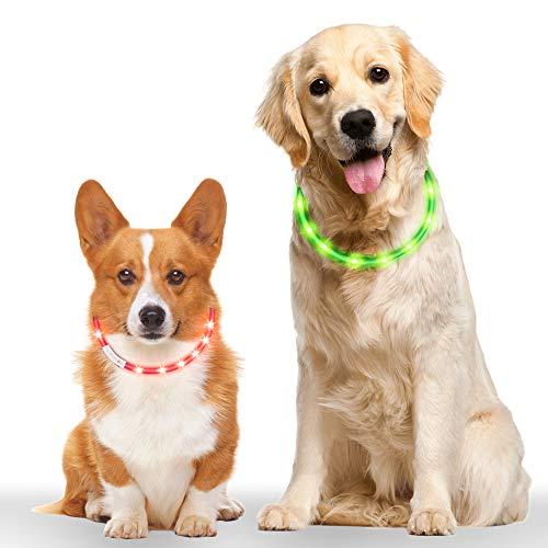 Leuchthalsband Hund 2 Stück, Vegena LED Hundehalsband Leuchtend Längenverstellbarer Wiederaufladbare...