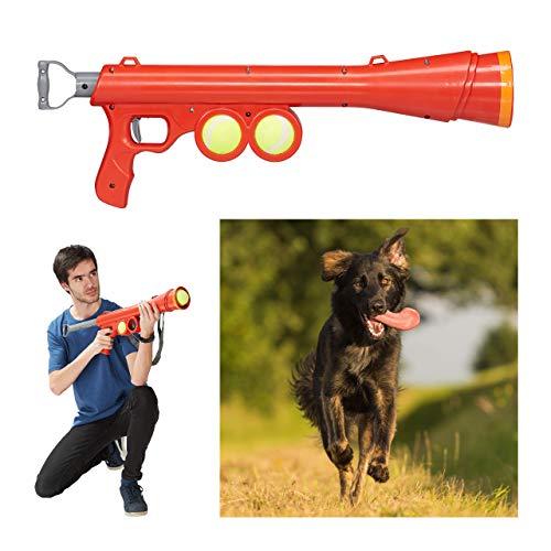 Relaxdays, rot Ballkanone Hund, inklusive 2 Tennisbälle, Ballpistole 10-15 m Reichweite, alle...