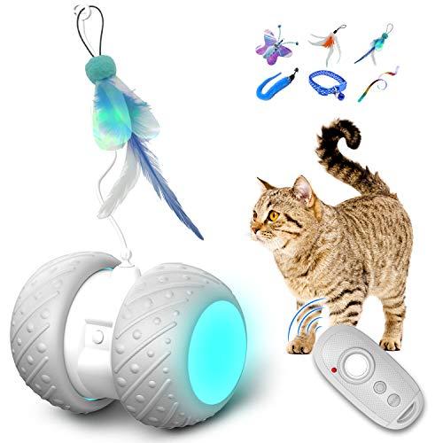 HOFIT Interaktives Elektrischer Katzenspielzeug,Automatischer Drehender Katzenball mit...