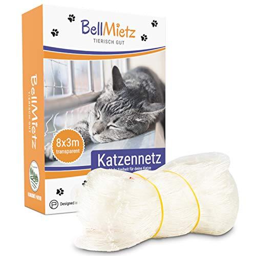 BellMietz® Katzennetz für Balkon & Fenster (durchsichtig)   Extragroßes 8x3m Katzenschutz-Netz ohne...