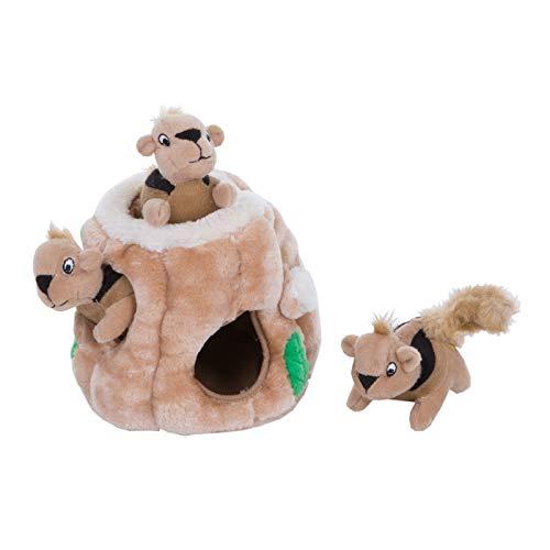 Outward Hound Hide-A-Squirrel Puzzle - Plüsch-Hundespielzeug mit Eichhörnchen, S, braun