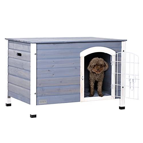 Petsfit Hundehütte Hundehaus Indoor aus Holz für kleine Hunde und Katze,Holzfarbe,Geeignet für DIY...