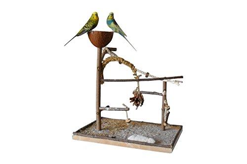 Vogelgaleria Luxus Vogelspielplatz aus Natur Holz mit Abnehmbarer Futterschale | Ideales Spielzeug bei...