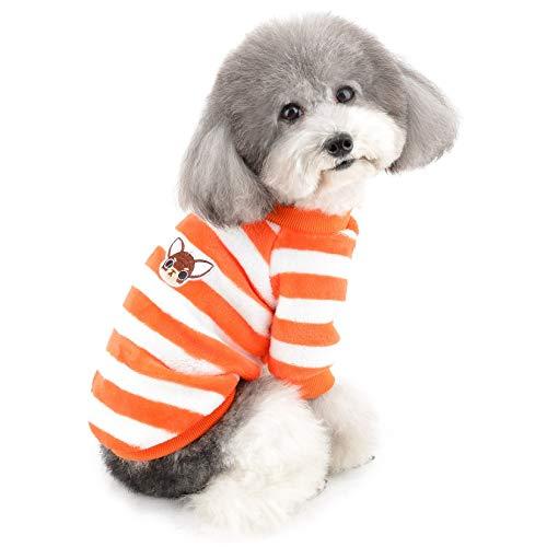 ZUNEA Kleine Hundepullover Wintermantel Warm Fleece Welpenkleidung Gestreifte Sweater Jacke Super Weicher...