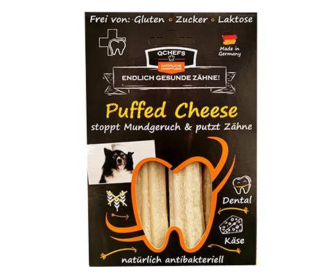 QCHEFS Puffed Cheese |Hunde Zahnpflege-Snack|Kauknochen groß| Knochen gegen Mundgeruch &...