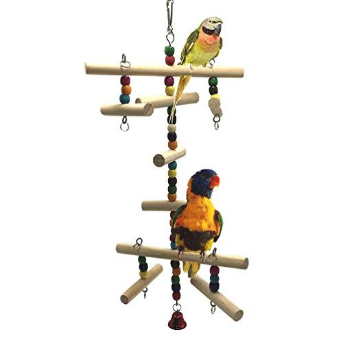 Kletterleiter aus Holz für den K?fig, Sitzstange, Spielzeug für V?gel, Papageien, Wellensittiche,...