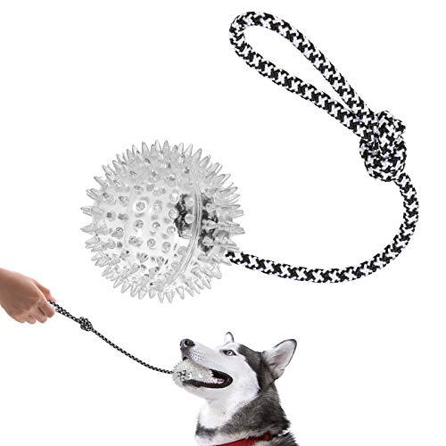 VECELA Hundeball Klein, Wurfball Hund mit Seil Robust Interaktives Hundespielzeug Dogball Hunde...