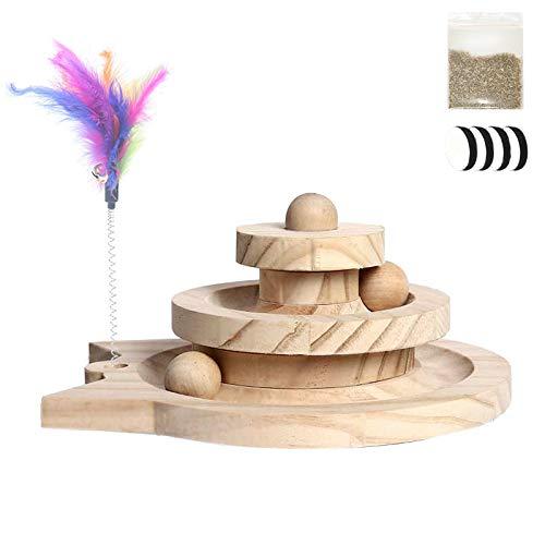 Trafagala Interaktives Katzenspielzeug aus Holz, Lustiges Katzenspielzeug aus Holz, Spielzeug für...