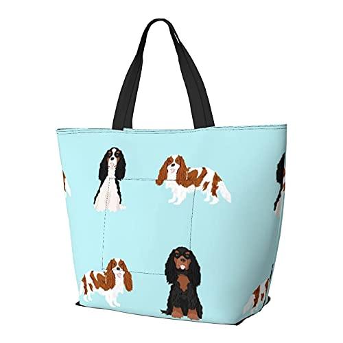 Umhängetasche Cavalier King Charles Spaniel Gemischte Mäntel Hund Hellblau Große Kapazität Handtasche...