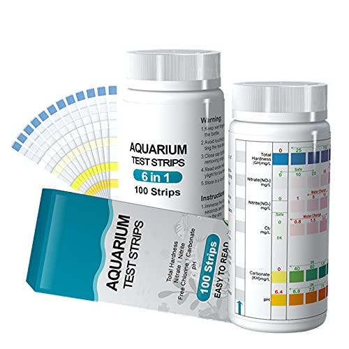 6 in 1 Aquarium Teststreifen, 100 Streifen Aquarium Test Kit zum Testen von PH Nitrit Nitrat Chlor...