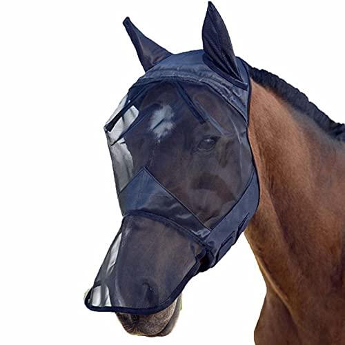 Phrat Fliegenmaske UV-Schutz mit Ohrenschutz, Pferdegesicht Mückenschutz Pferdegesicht Pferdekopf...