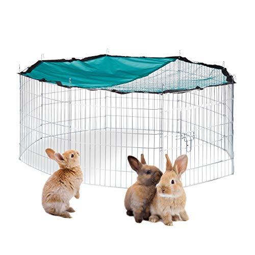 Relaxdays XL Freilaufgehege mit Netz-Abdeckung, für Hasen und Nager, Kleintiergehege mit Sonnenschutz,...