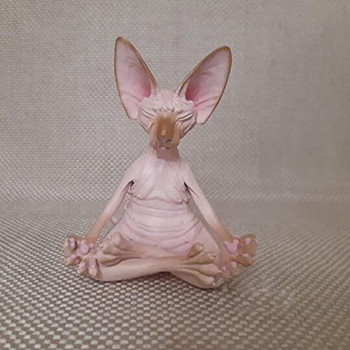 HeiHeiDa Meditierend Denkende Katze Buddha Meditation Statue, Sphynx Katze Meditieren Denkkatze Garten...