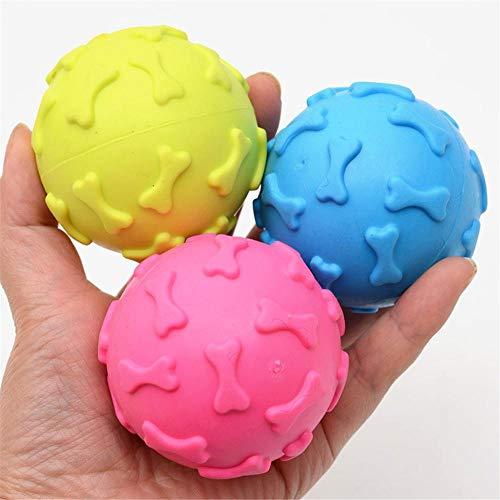 LZWNB 1Pcs Durchmesser 6Cm Quietschendes Haustier Hund Ballspielzeug für kleine Hunde Gummi Kauen Welpe...